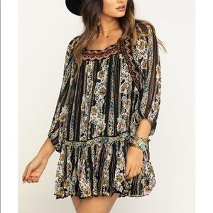 🆕 Free People Metallic Floral Boho Mini Dress